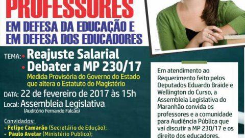 Deputado Wellington convida profissionais da educação para audiência pública que discutirá reajuste salarial e a MP Nº230/17