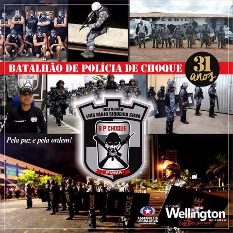 """""""Temos uma luta em defesa dos policiais"""", diz deputado Wellington em homenagem ao Batalhão de Choque"""