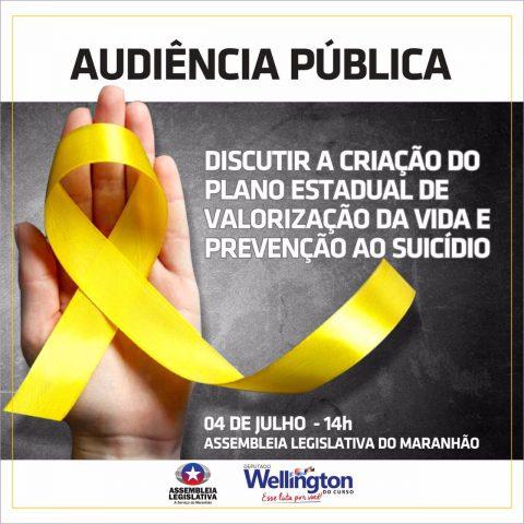 Deputado Wellington convida a população para audiência que discutirá a prevenção ao suicídio