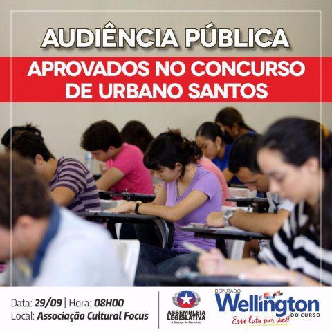 Deputado Wellington convida população para audiência com aprovados em concurso de Urbano Santos