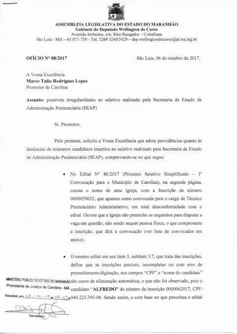 """Deputado Wellington formaliza denúncias no Ministério Público de Carolina sobre """"SELETIVO CAMARADA"""" no Maranhão"""