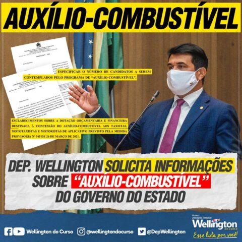 """Deputado Wellington solicita informações sobre """"auxílio-combustível"""" do Governo do Estado"""